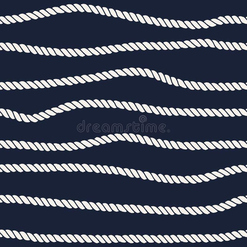 Морская линия безшовная картина веревочки иллюстрация штока