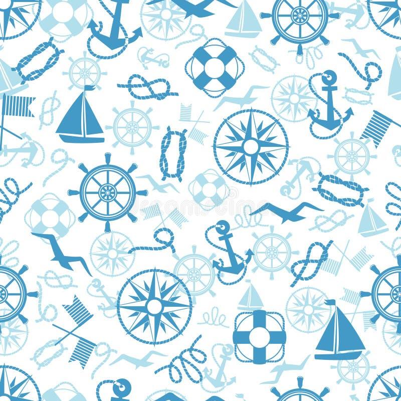Морская или морская тематическая безшовная картина иллюстрация вектора