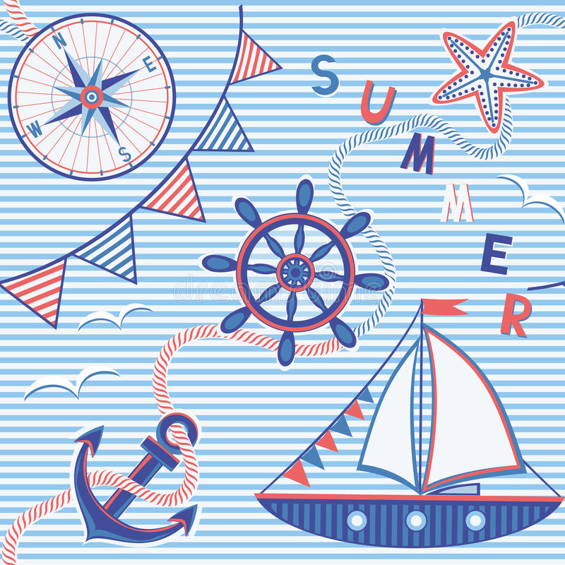 морская картина безшовная иллюстрация вектора