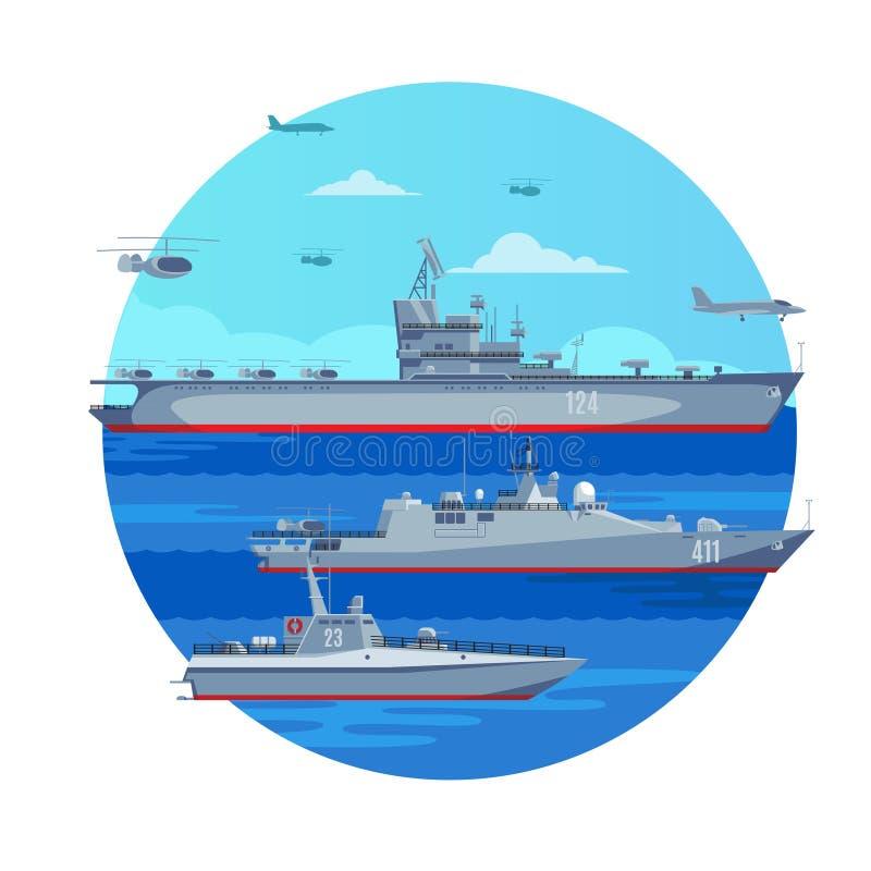 Морская концепция линейного флота бесплатная иллюстрация