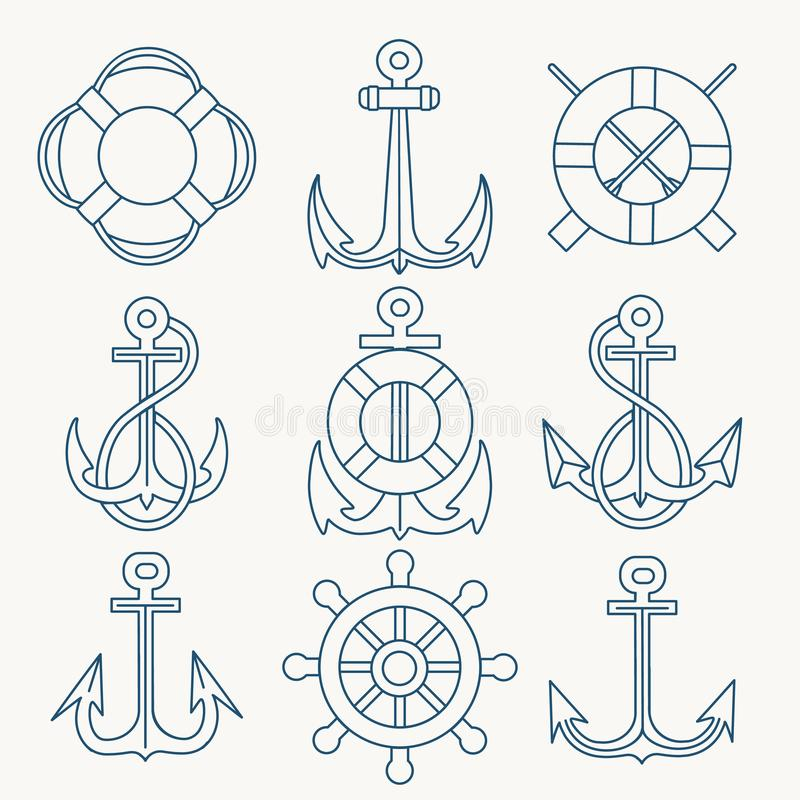 Морская тонкая линия комплект эмблемы бесплатная иллюстрация