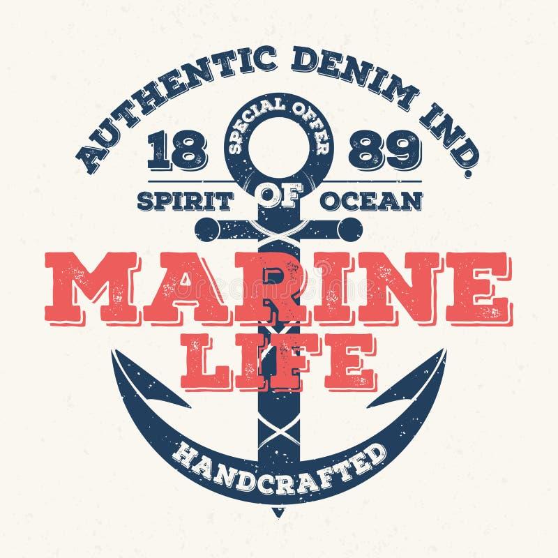 Морская флора и фауна, винтажное оформление для печати футболки График футболки иллюстрация штока