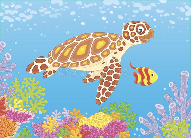 Морская черепаха на рифе иллюстрация штока