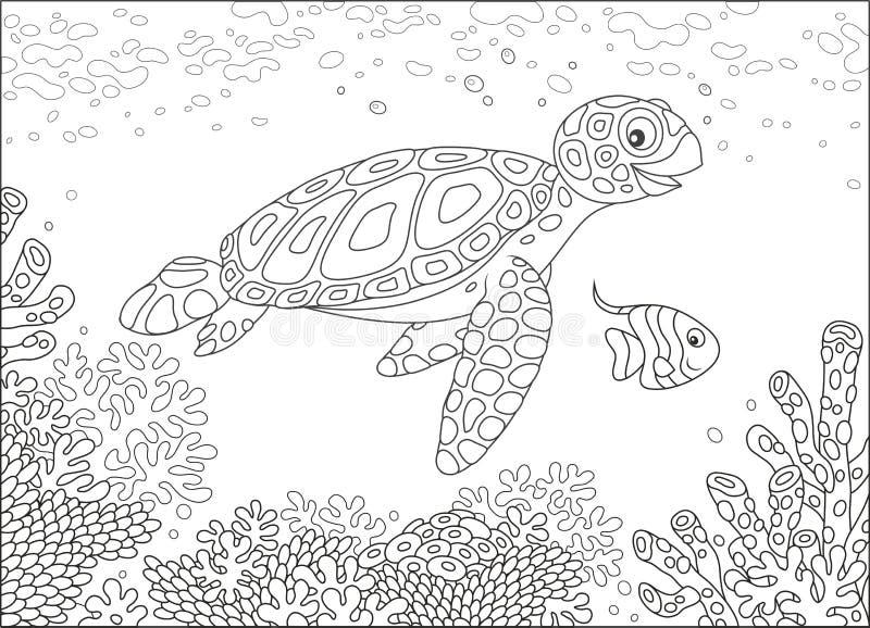Морская черепаха на рифе иллюстрация вектора