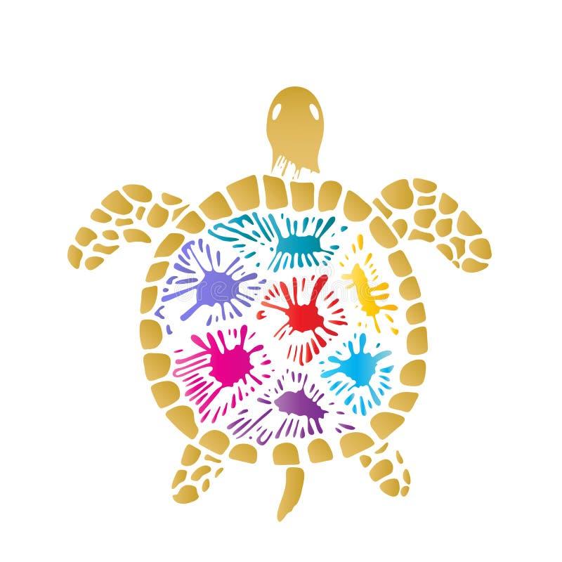 Морская черепаха с покрашенными помарками на раковине иллюстрация вектора