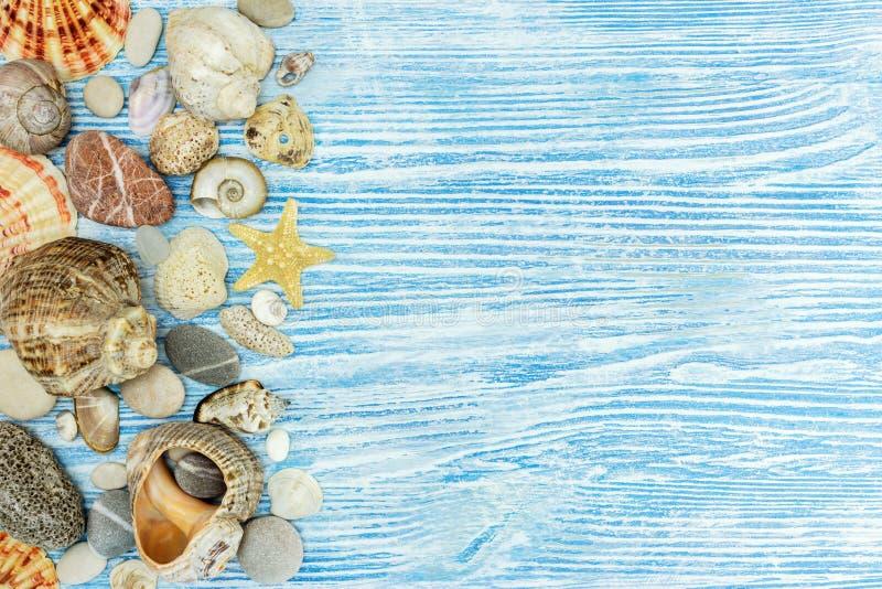 Морские детали украшения на сини покрасили деревянные доски стоковые фотографии rf
