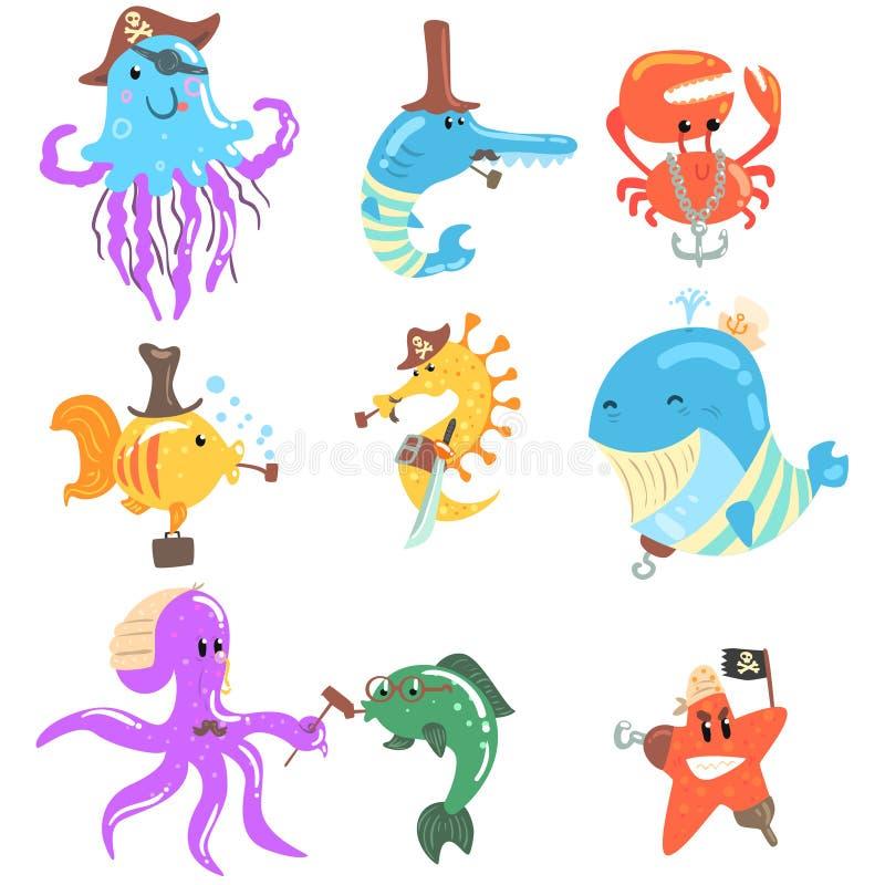 Морские животные и подводная живая природа с аксессуарами пирата и матроса и атрибуты установленные шуточных персонажей из мультф иллюстрация штока