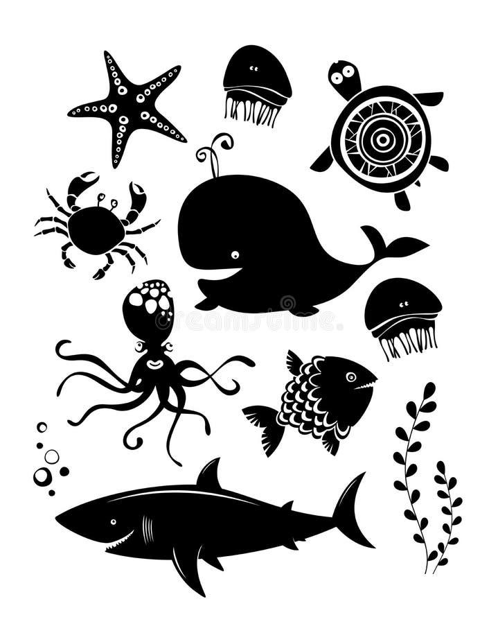 Морские животные установленные иконы иллюстрация штока