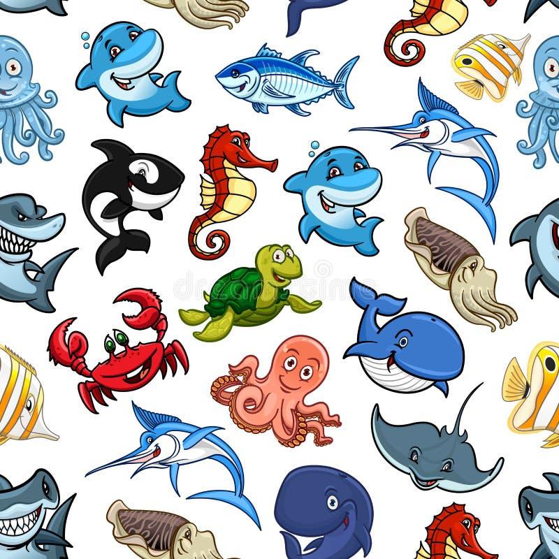 Морские животные шаржа, картина рыб океана безшовная бесплатная иллюстрация