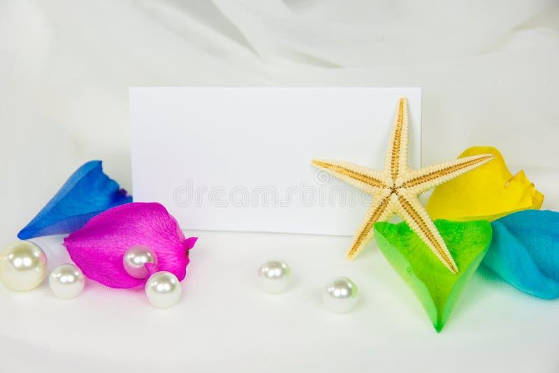 Морские звёзды и жемчуга на wedding Тюль стоковое изображение rf