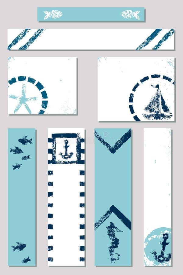 Морские знамена объявления стиля печати губки grunge установили с иллюстрациями шлюпки, анкера, морской звёзды, рыб и лошади моря иллюстрация вектора