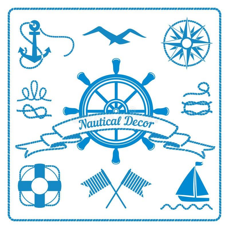 Морские значки и оформление иллюстрация вектора