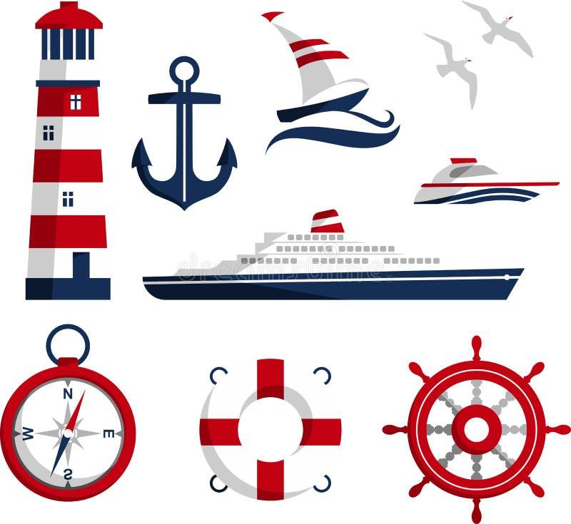 Морские значки иллюстрация штока