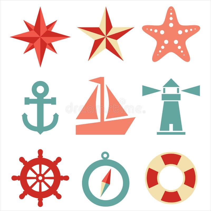 Морские иконы иллюстрация штока