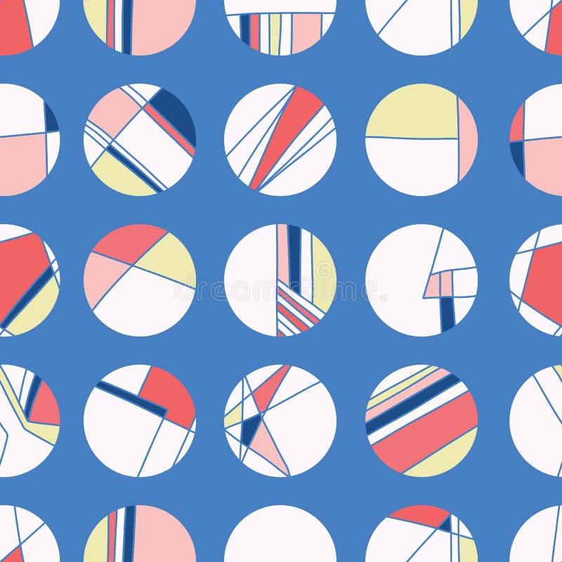 Морские круги точки польки стиля сигнального флага Предпосылка картины вектора безшовная Иллюстрация руки вычерченная геометричес иллюстрация вектора