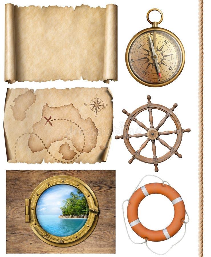 Морские объекты rope, карты, компас, рулевое колесо и иллюстрация иллюминатора 3d стоковые фото