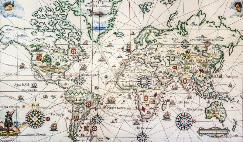 Морские открытия и исследования Португалии в XV и XVI веках стоковое изображение