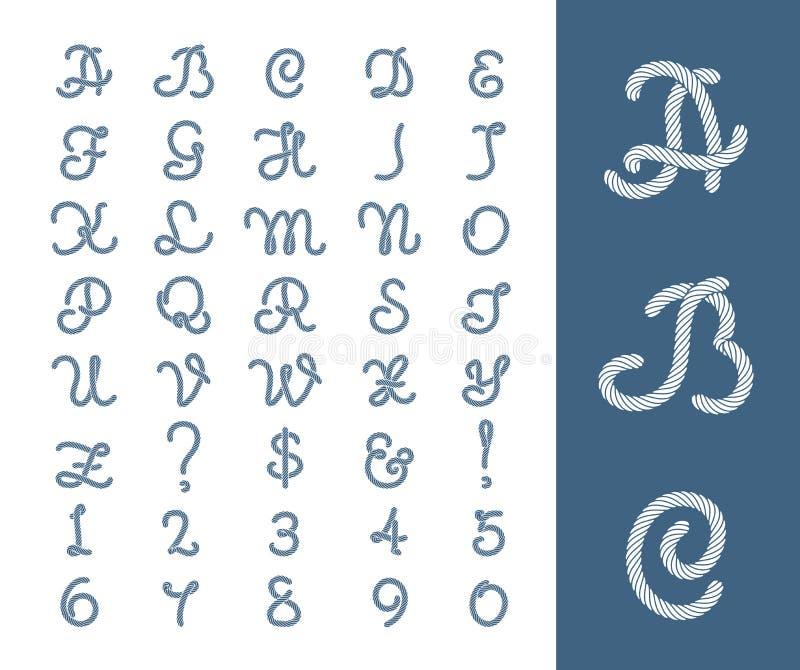 Морские письма веревочки продевают нитку шрифт с границей рамки веревочек иллюстрация штока