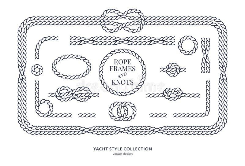 Морские узлы и рамки веревочки иллюстрация штока