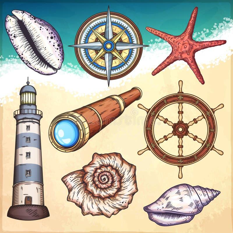 Морские установленные иллюстрации иллюстрация вектора