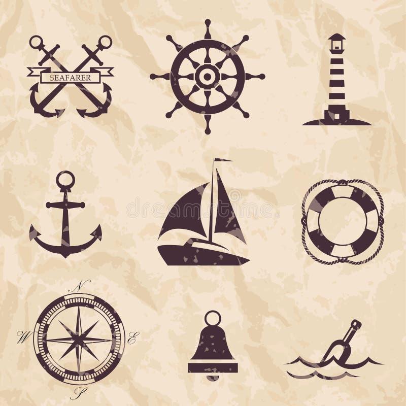 Морские элементы дизайна иллюстрация вектора
