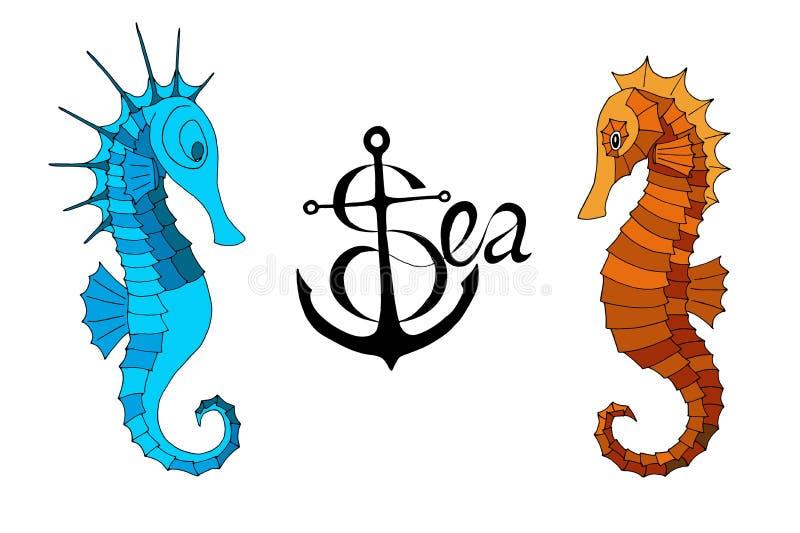 2 морского конька и каллиграфической надпись с анкером бесплатная иллюстрация