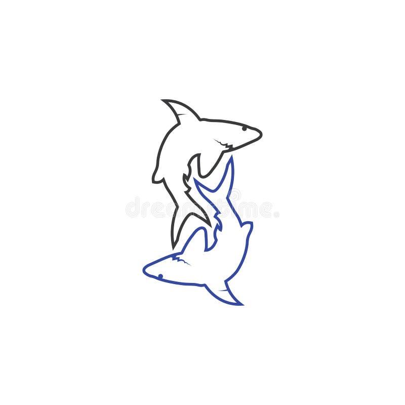Морское животное рыб вектора шаблона и дизайна логотипа акулы дикое иллюстрация вектора