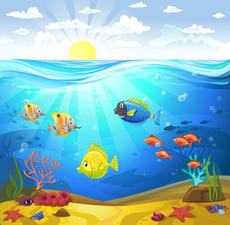 Морское дно с кораллами бесплатная иллюстрация
