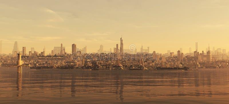 морское побережье будущего города иллюстрация штока