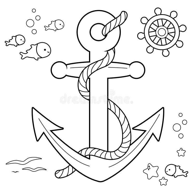 Морское собрание с анкером, штурвалом шлюпки и рыбами с веревочкой Черно-белая страница книжка-раскраски иллюстрация вектора