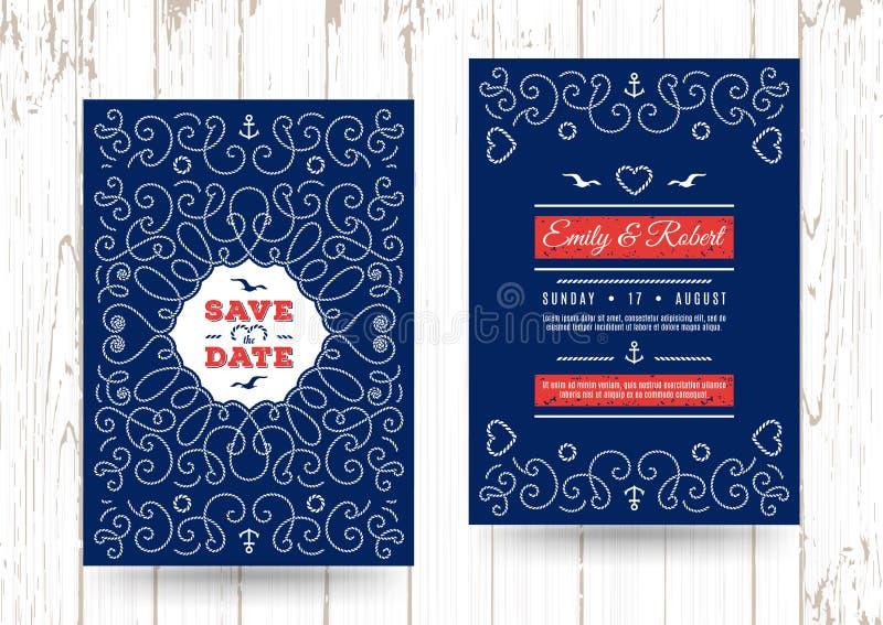 Морское спасение приглашение свадьбы вектора карточек даты морское иллюстрация вектора