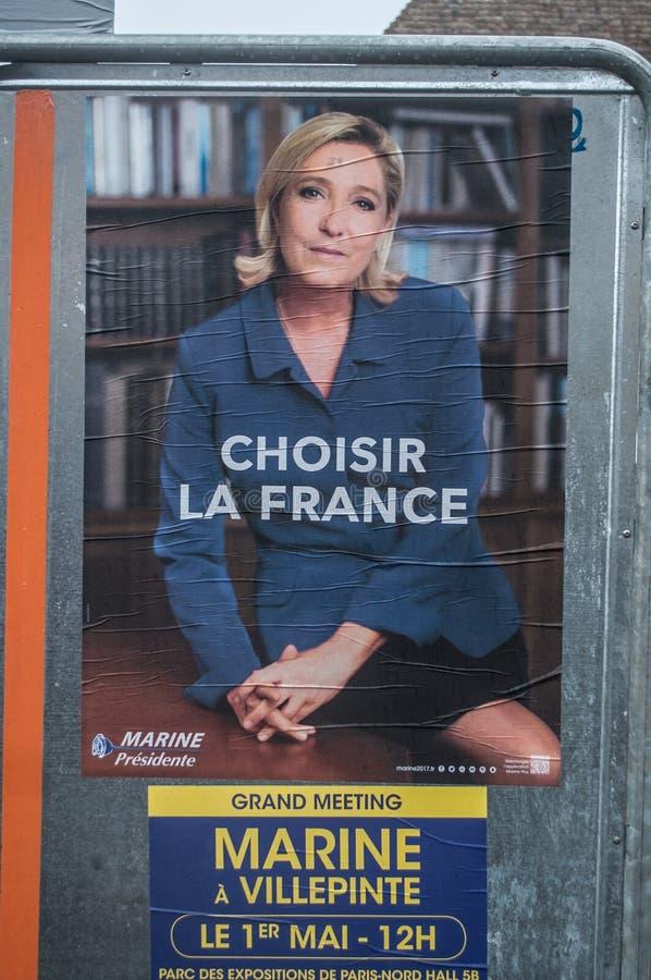 Морское Lepen - плакат избирательной кампании для второго круга президентских выборов 2017 французов стоковые фото