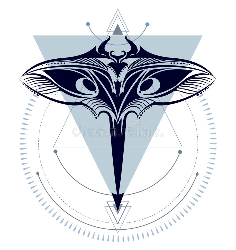 Морской дьявол геометрический иллюстрация штока