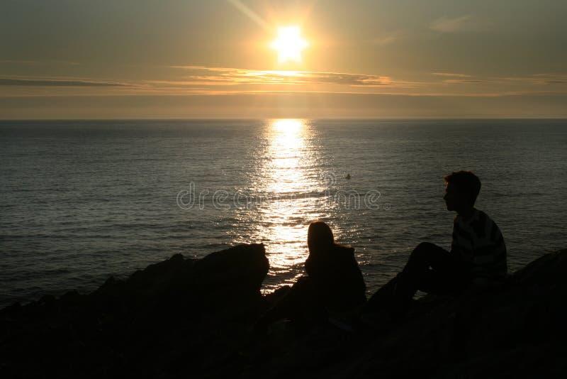 морской заход солнца стоковое фото rf