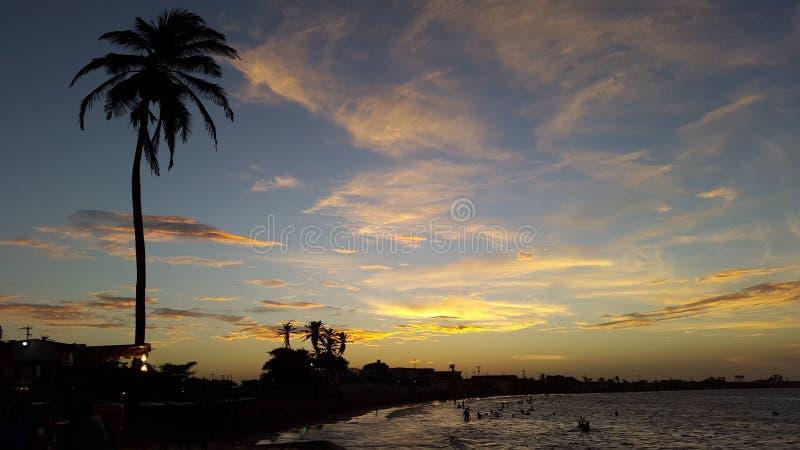 Морской заход солнца взгляда стоковое фото rf