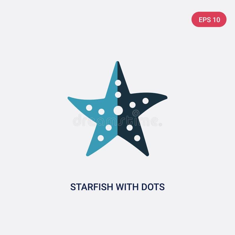 2 морской звёзды цвета со значком вектора точек от морской концепции изолированные голубые морские звёзды с символом знака вектор бесплатная иллюстрация