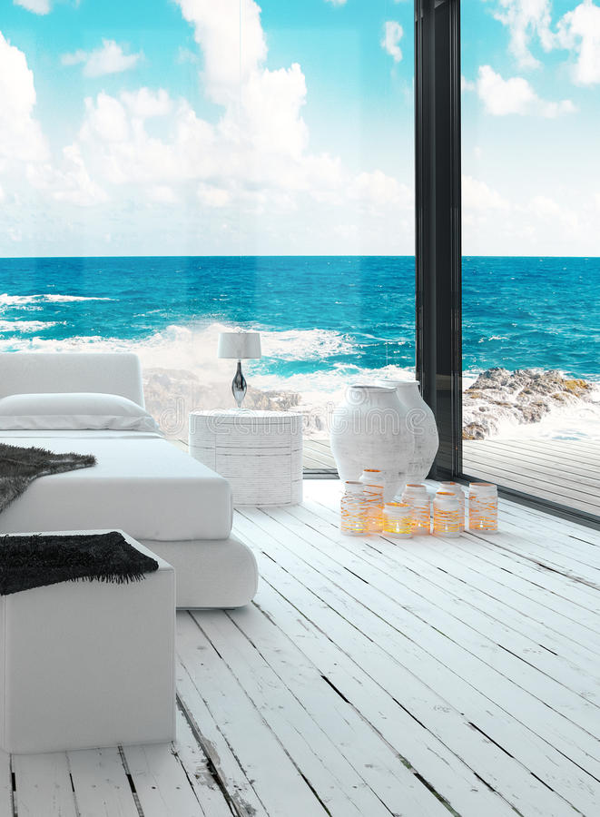 Морской интерьер спальни стиля с взглядом seascape бесплатная иллюстрация