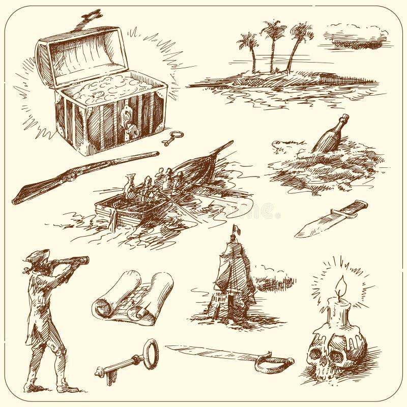 морской комплект иллюстрация вектора