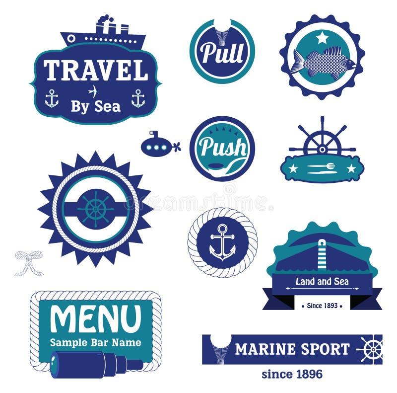 Морской комплект ярлыков иллюстрация штока
