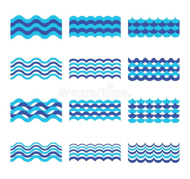 Морской пехотинец, море, комплект вектора океанских волн бесплатная иллюстрация