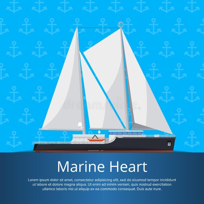 Морской плакат сердца с роскошной яхтой иллюстрация вектора