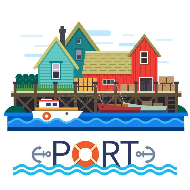 Морской порт Шлюпки с грузом иллюстрация вектора