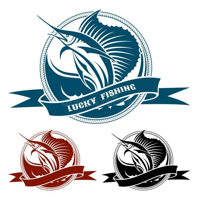 Морской ретро ярлык с скача рыбами ветрила иллюстрация штока