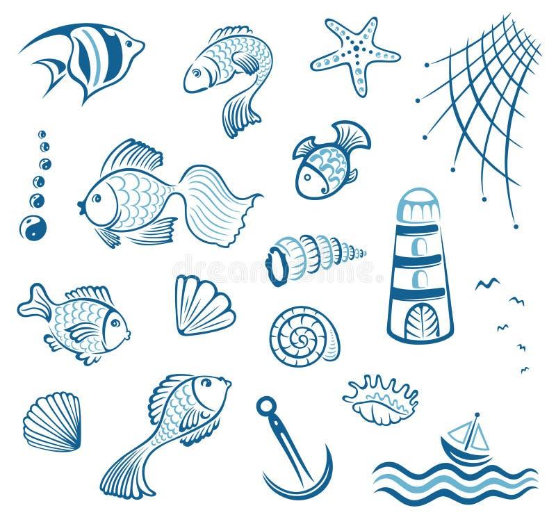 Морской, рыба, мидия иллюстрация штока