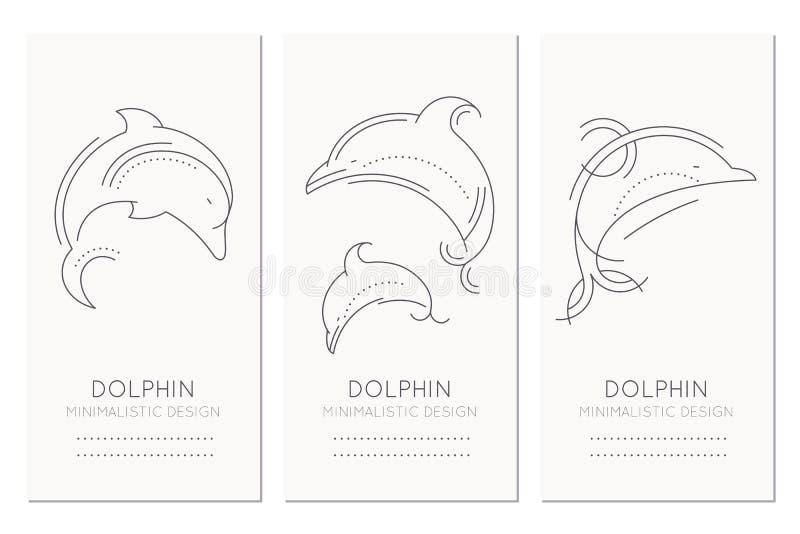 Морской шаблон дизайна карточки с тонкой линией иллюстрациями стиля дельфинов иллюстрация штока
