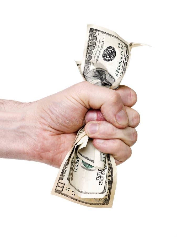 морщинка руки долларов пука стоковое изображение rf