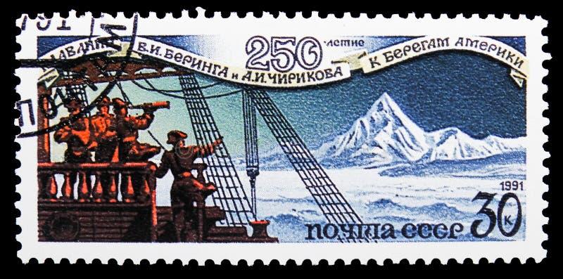 Моряки с западного побережья Аляски, 250th годовщины v Беринг и a Экспедиция Chirikov, serie, около 1991 стоковая фотография rf