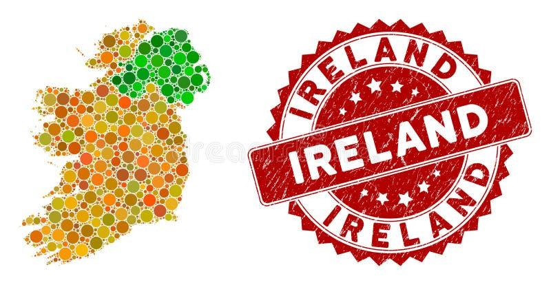 Мосаические ирландские страны Карта и шнурки с напряжением иллюстрация штока