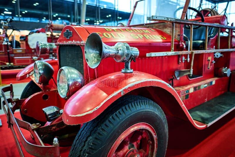 МОСКВА - 9-ОЕ МАРТА 2018: Пожарная машина 1925 LaFrance американца на бывшем стоковое изображение rf