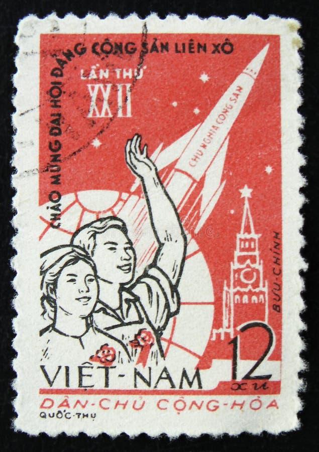 МОСКВА, РОССИЯ - 2-ОЕ АПРЕЛЯ 2017: Штемпель столба напечатанный в Вьетнаме стоковое изображение rf